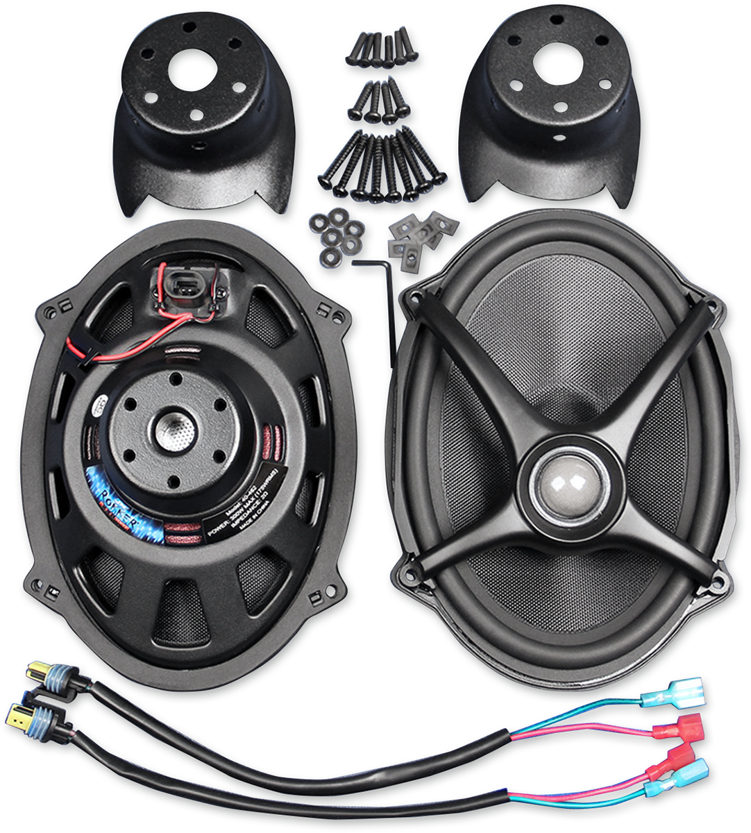 J&M Rokker Black 5x7 Speaker Lid Upgrade Kit 06-19 Harley Davidson Touring FLHX