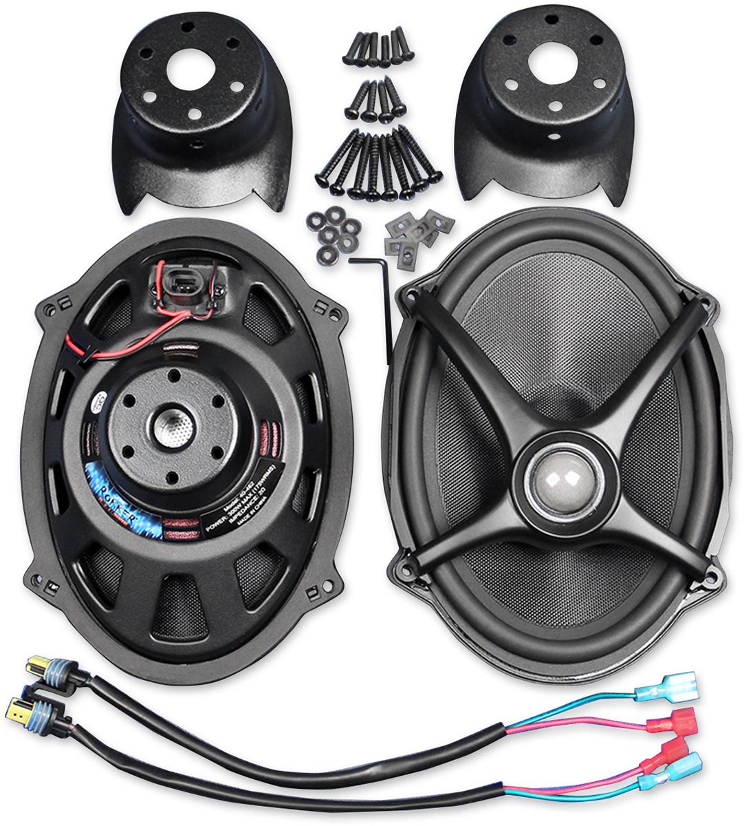 J&M Rokker Black 5x7 Speaker Lid Upgrade Kit 06-18 Harley Davidson Touring FLHX