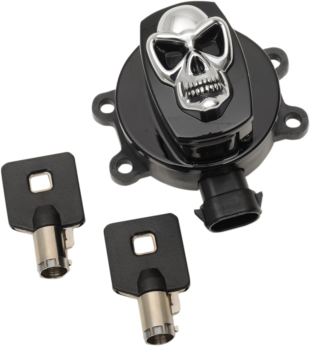 Drag Specialties Black Skull Ignition Switch for 12-18 Harley Dyna Touring FLHR