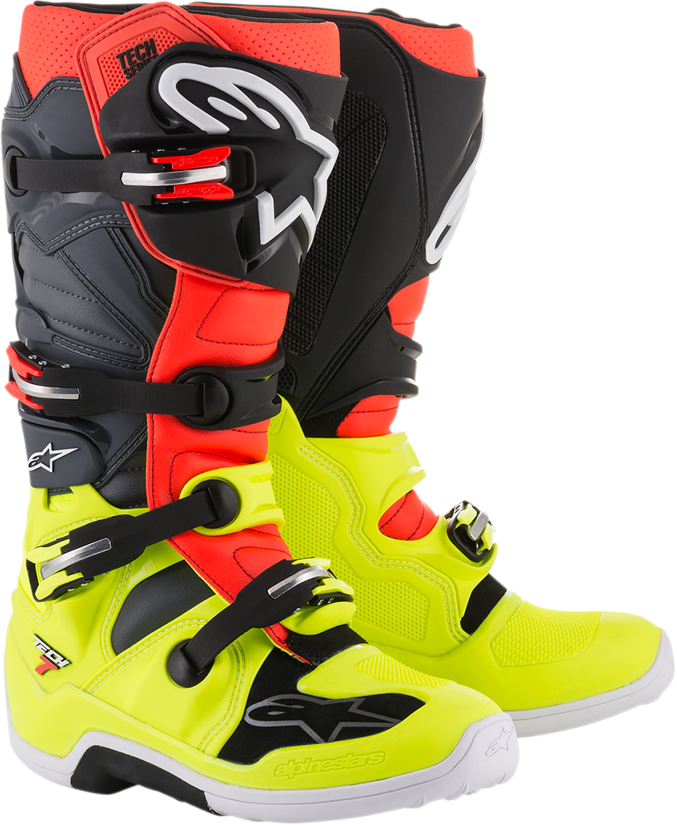 Alpinestars Mens Leather Black Red Gray Red Tech 7 Off road Riding Racing Boots