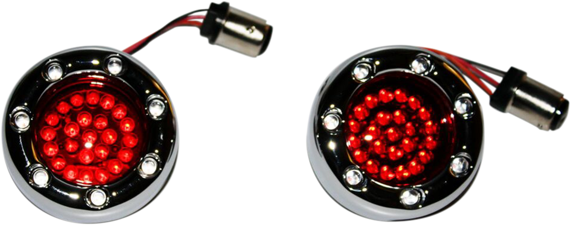 Custom Dynamics 1156 Chrome Red LED Rear Bullet Ringz Marker Lights for Harley