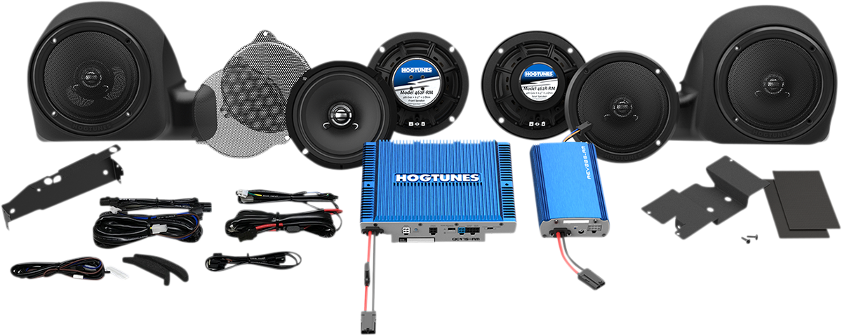 Hogtunes 550 Watt 4 Chanel Speaker & Dual Amplifier Kit 14-20 Harley Touring