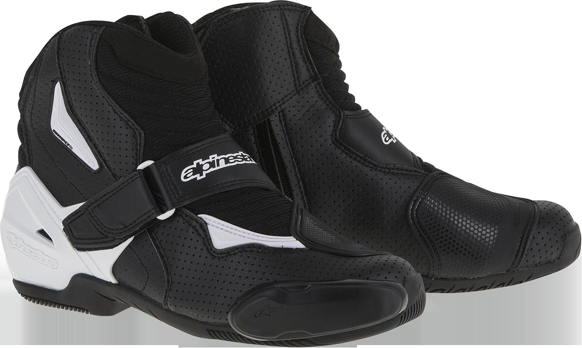 Alpinestars Mens 10.5 Black White SMX-1 R Motorcycle Riding Street Racing Boots