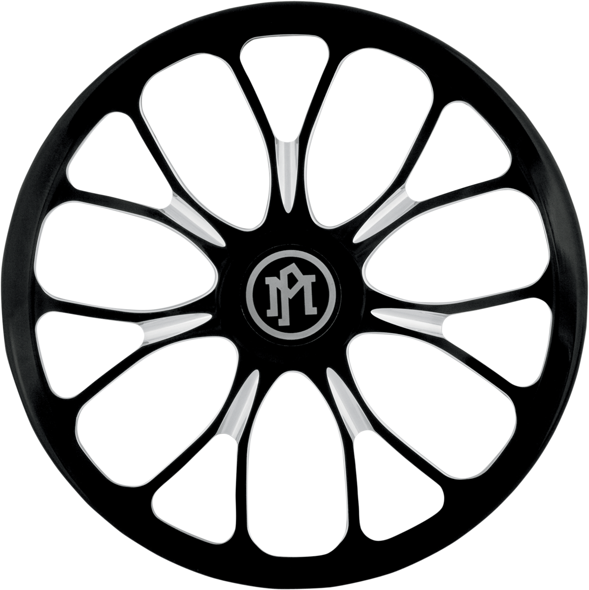 Performance Machine Black Silver Heathen Motorcycle Air Cleaner Cover Insert