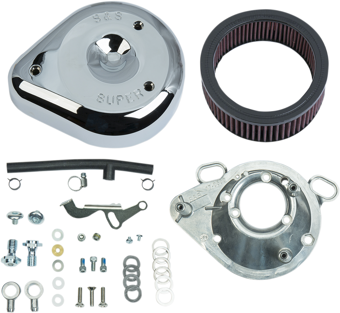 S&S Cycle Chrome Super E&G Air Cleaner Kit for 93-00 Harley Dyna Touring Softail