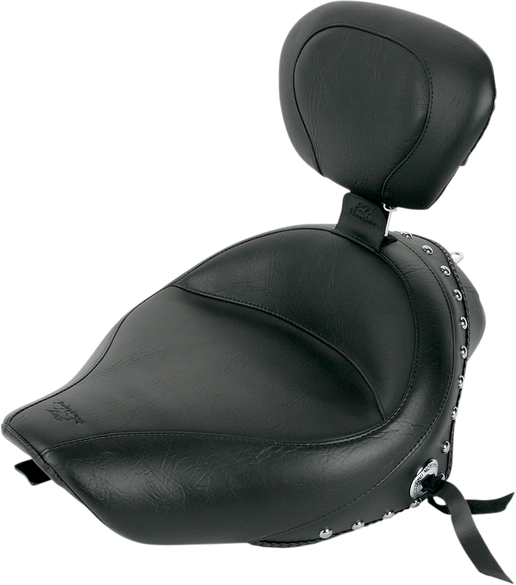 Mustang Wide Studded Motorcycle Solo Seat & Backrest 04-19 Harley Sportster XL