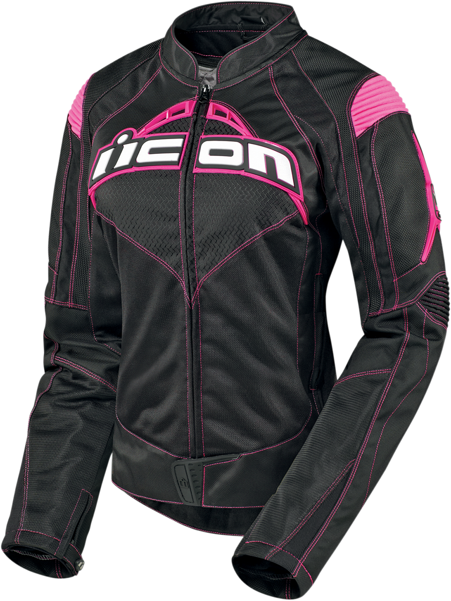 Icon Womens Contra Large Black Pink Motorcycle Riding Street Racing Jacket