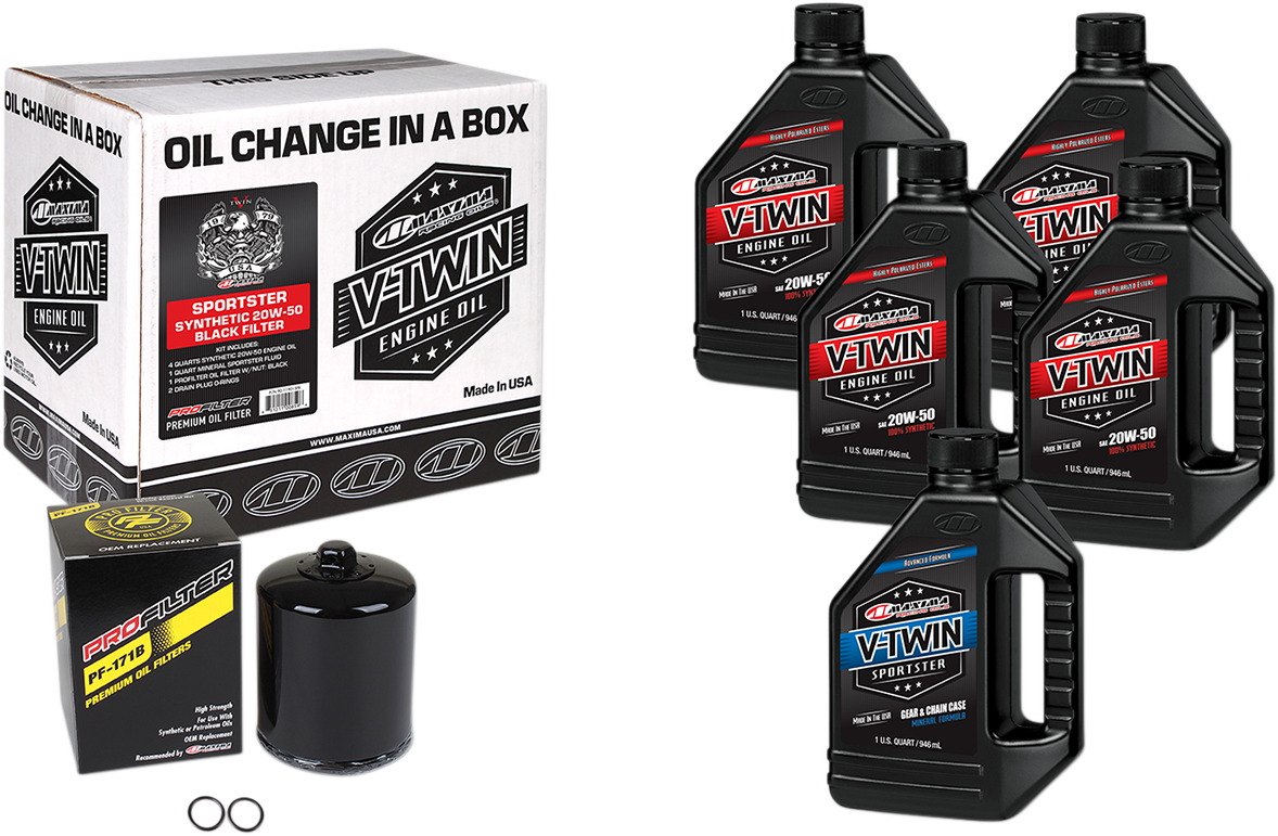 Maxima Quick Oil Change Kit & Black Filter for 84-99 Harley Touring Softail XL