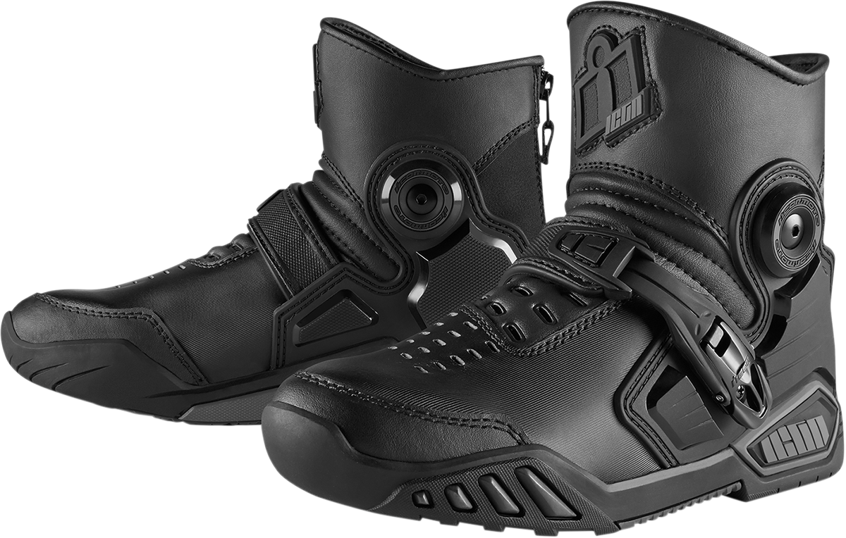 Icon Mens Black Leather Accelerant Size 12 Motorcycle Riding Street Racing Boots