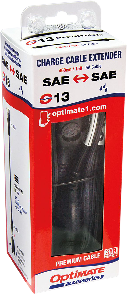 Tecmate Black 15' SAE Plug Universal Battery Pigtail Charger Extension Cable