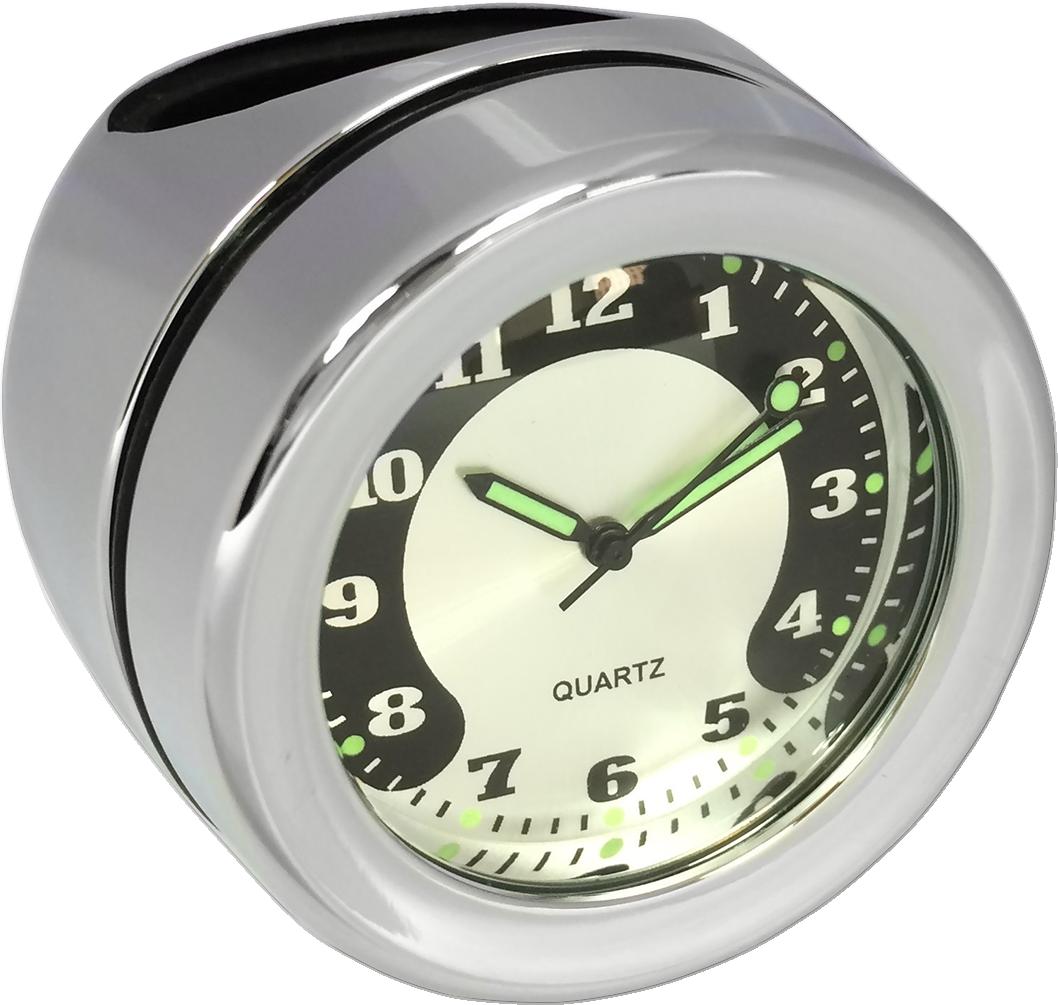 "Drag Specialties Chrome 1 1/4"" Handlebar Clock for Harley Davidson"