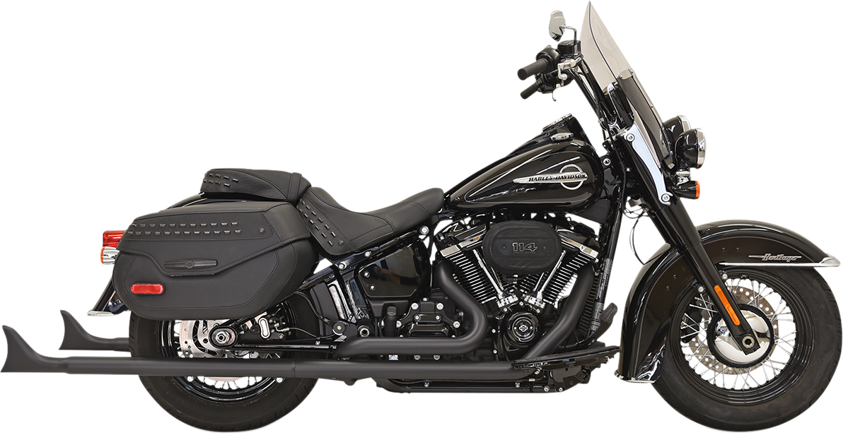 "Bassani 2-2 Black 36"" Fishtail Full Exhaust 18-19 Harley Softail FLDE DLHC"