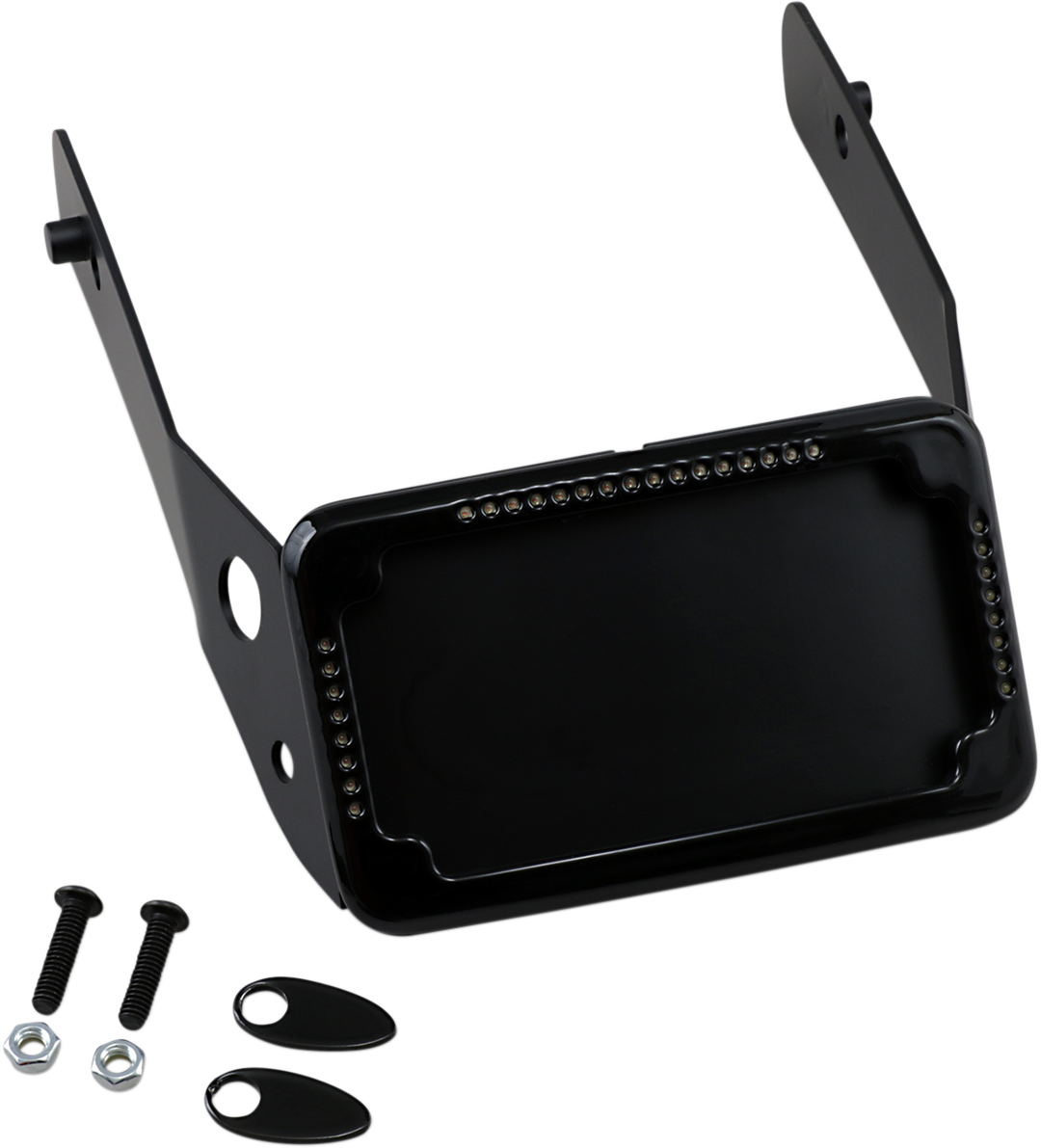 Cycle Visions Black Slick Signals License Plate Frame for 10-17 Harley FXDWG