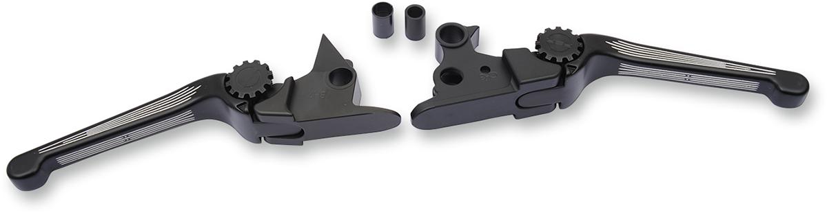 PSR Contrast Cut Black Adjustable Lever Set for 15-17 Harley Softail FLS FXSB