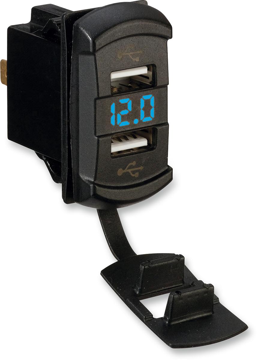 Moose Black ATV UTV Side by Side Offroad Blue Digital Volt Meter & USB Ports