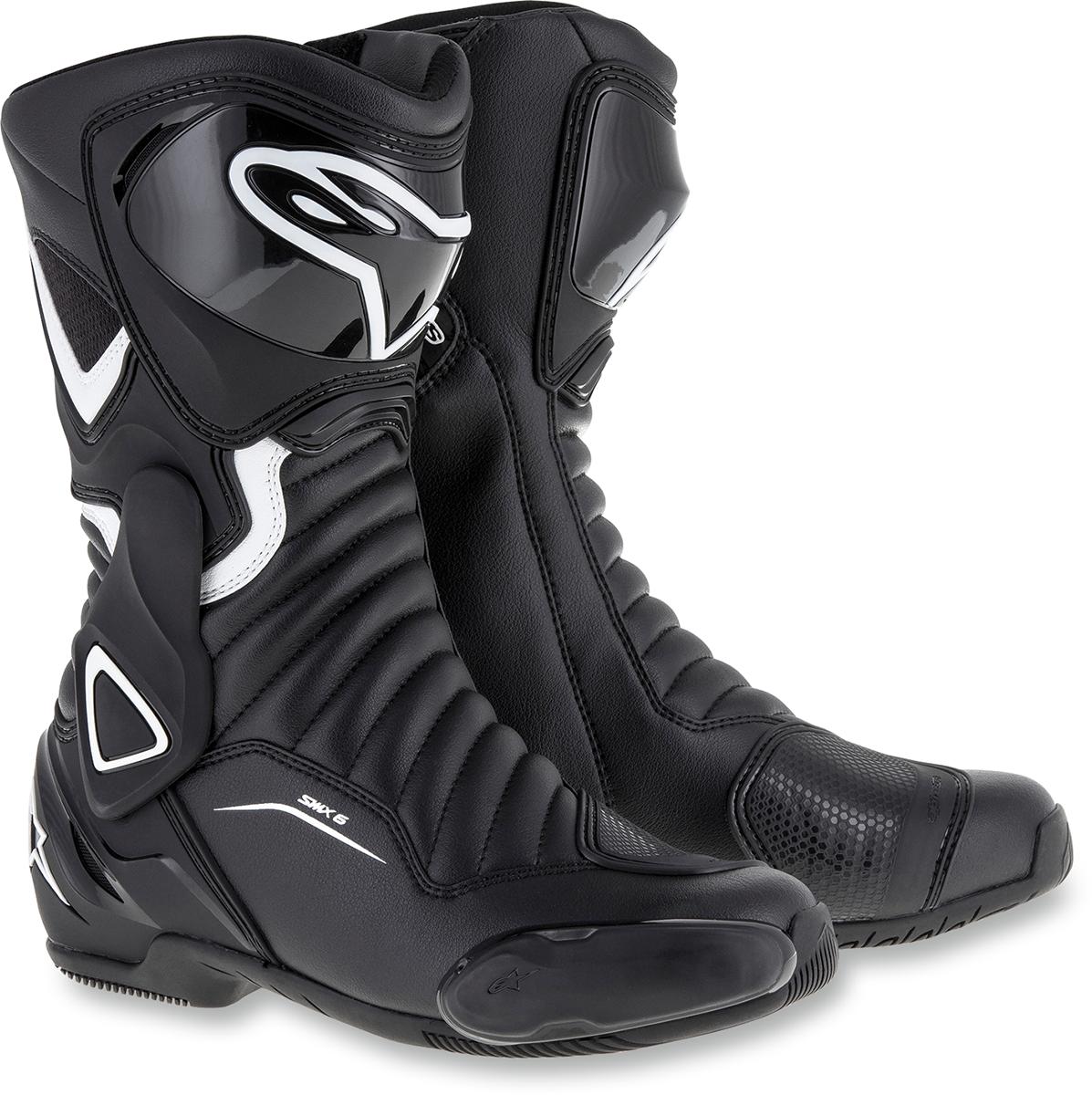 Alpinestars Pair Black White SMX6 Womens Motorcycle Riding Street Racing Boots