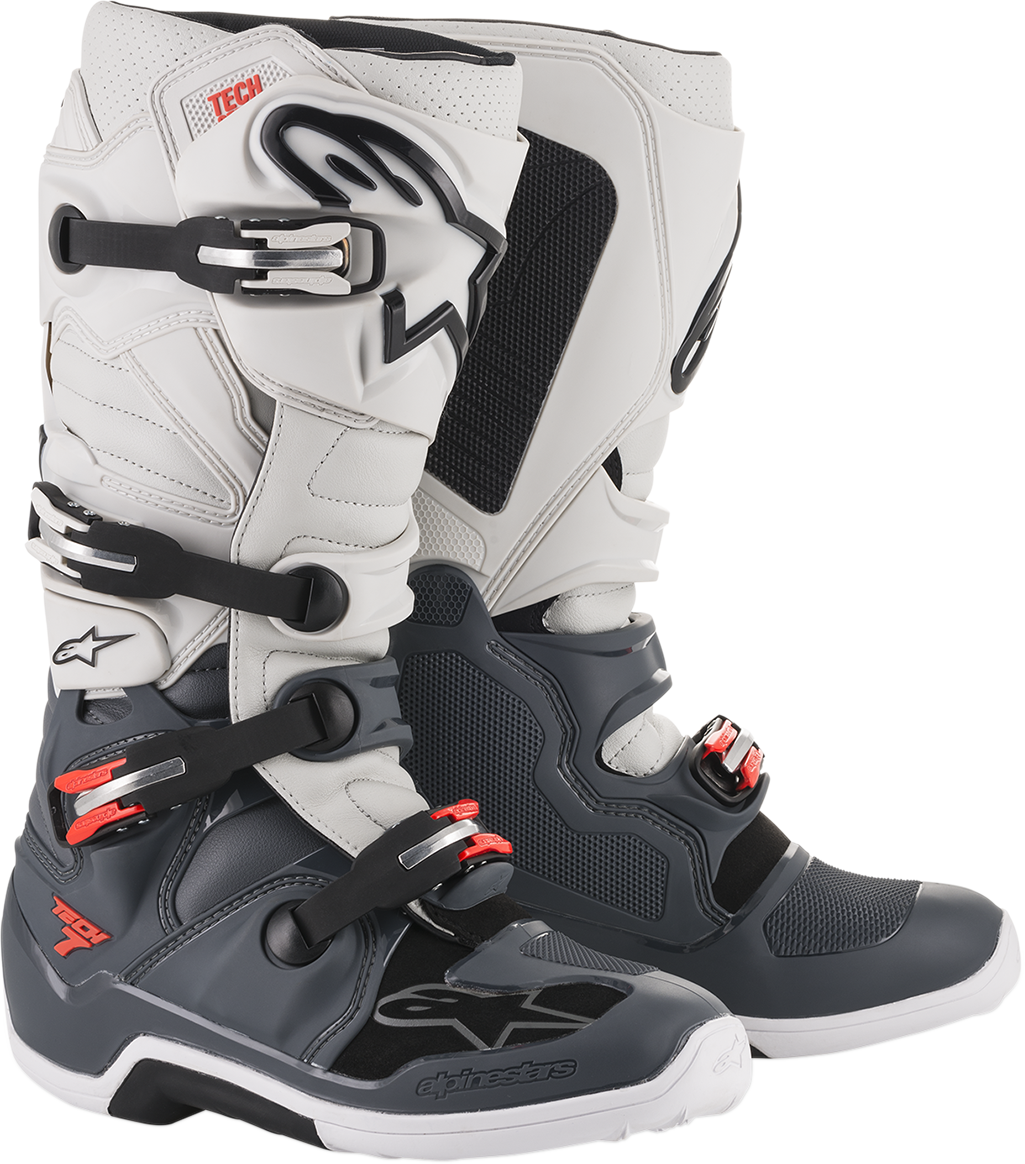 Alpinestars Mens Pair Gray Red Tech 7 Off road Riding Dirt Bike Racing Boots