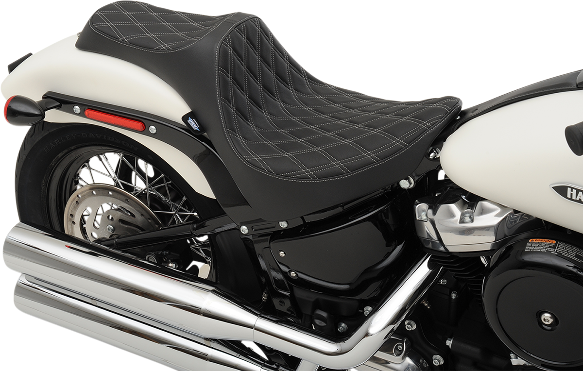 Drag Specialties Vinyl Black Silver Predator Diamond Seat for 18-20 Harley FXBB