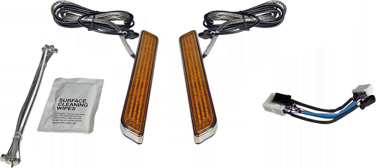 Custom Dynamics Amber LED Front Fork Leg Turn Singles 96-17 Harley Softail FLST