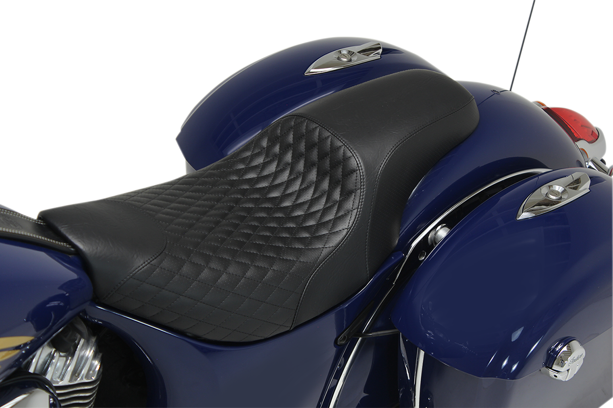 Mustang Black Diamond Vinyl Tripper Motorcycle Seat for 14-19 Indian Chief Scout