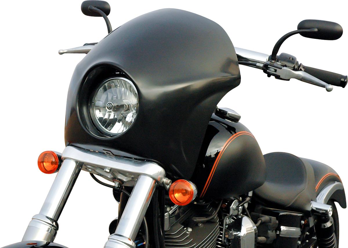 Russ Wernimont Black Plastic Front Short Cafe Fairing for 06-17 Harley FXDB FXDL