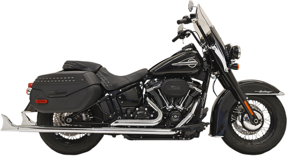 "Bassani Chrome 33"" True Dual Fishtail Exhaust for 18-19 Harley Softail FLDE FXBB"