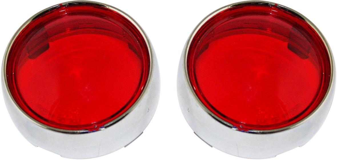Custom Dynamics Chrome Red Lens Bullet Turn Signal Bezel for Harley Davidson