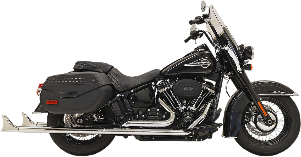 "Bassani Chrome 36"" True Dual Fishtail Exhaust for 18-19 Harley Softail FLDE FXBB"