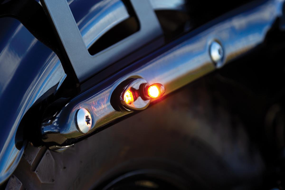 Kuryakyn Atto 2858 Mini Black Rear Red Amber LED Turn Signal for Harley Davidson