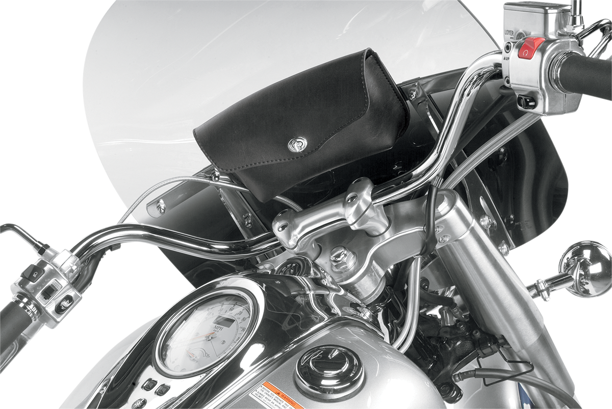 Willie & Max Black Revolution 1 Pocket Synthetic Leather Windshield Fairing Bag