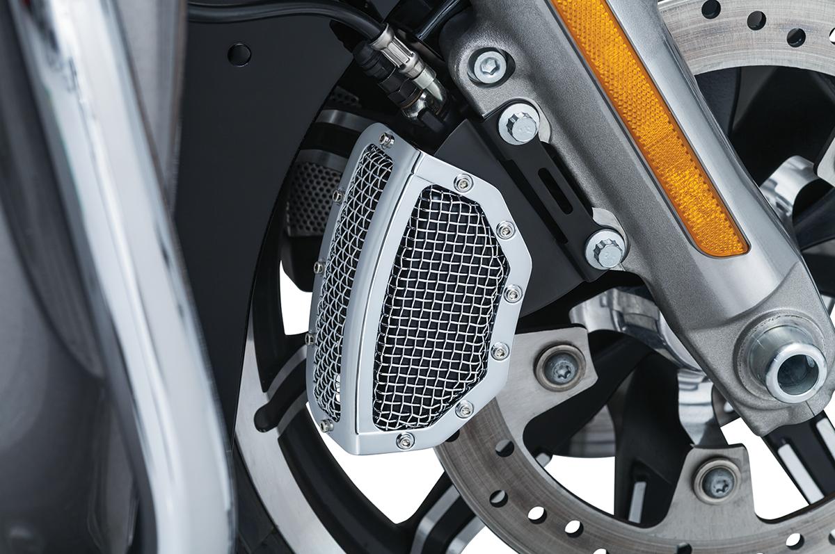 Kuryakyn Chrome Mesh Front Brake Caliper Covers for 08-17 Harley Touring V-Rod