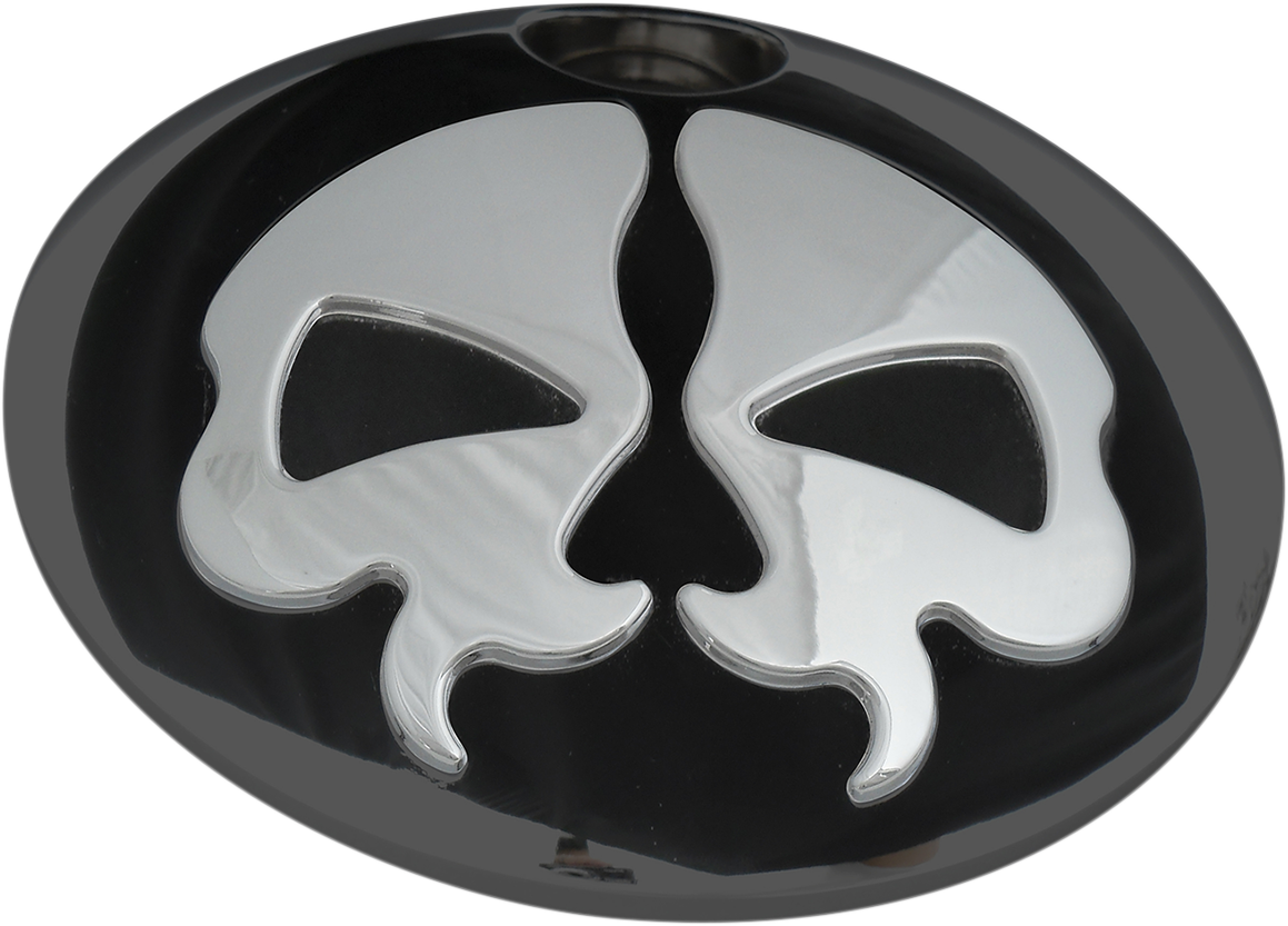 Drag Specialties Chrome Split Skull Gas Cap Door for 08-17 Harley Touring FLHX