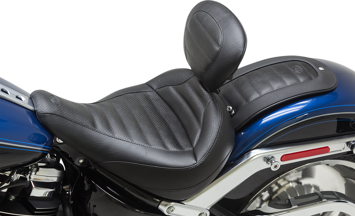 Mustang Tuck n Roll Motorcycle Solo Seat & Backrest 18-19 Harley Softail FLFB