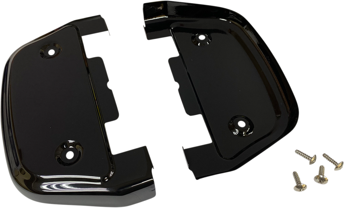 Drag Specialties Gloss Black Passenger Floorboard Covers 86-19 Harley Touring