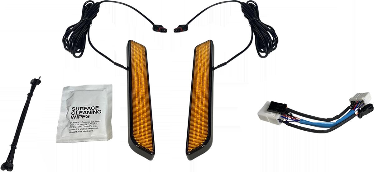 Custom Dynamics Amber LED Black Front Fork Leg Turn Singles 96-17 Harley Softail