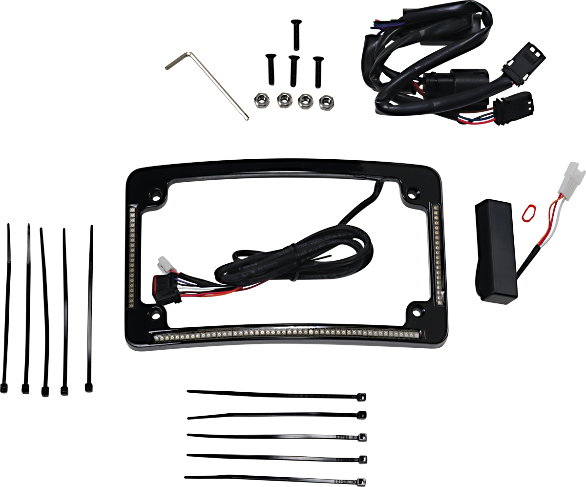 Custom Dynamics Black LED Radius Licence Plate Frame 10-13 Harley Touring FLHX