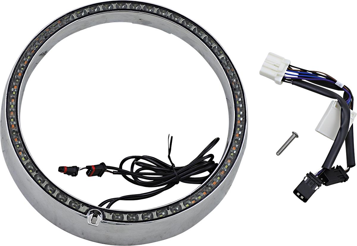 Custom Dynamics Chrome LED Sequential Headlight Trim 99-05 Harley Touring FLHT