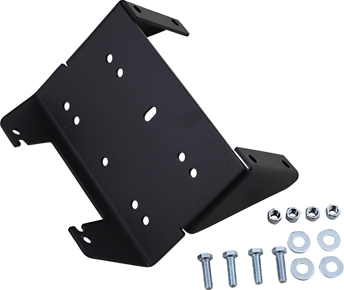 Moose Utility Black UTV Winch Mounting Plate 15-20 Kawasaki Mule Pro FX FXR DX