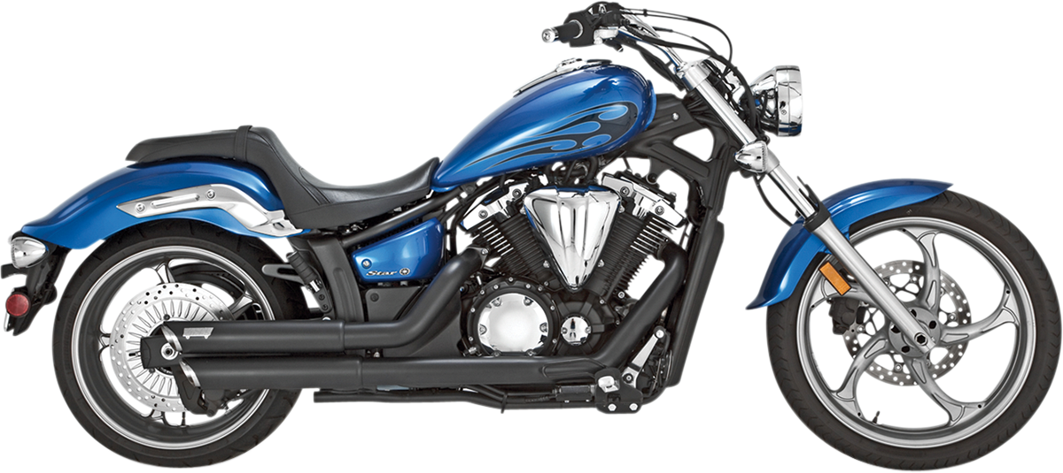 Vance & Hines Black Twin Slash 2-2 Exhaust for 11-17 Yamaha XVS 1300 Stryker