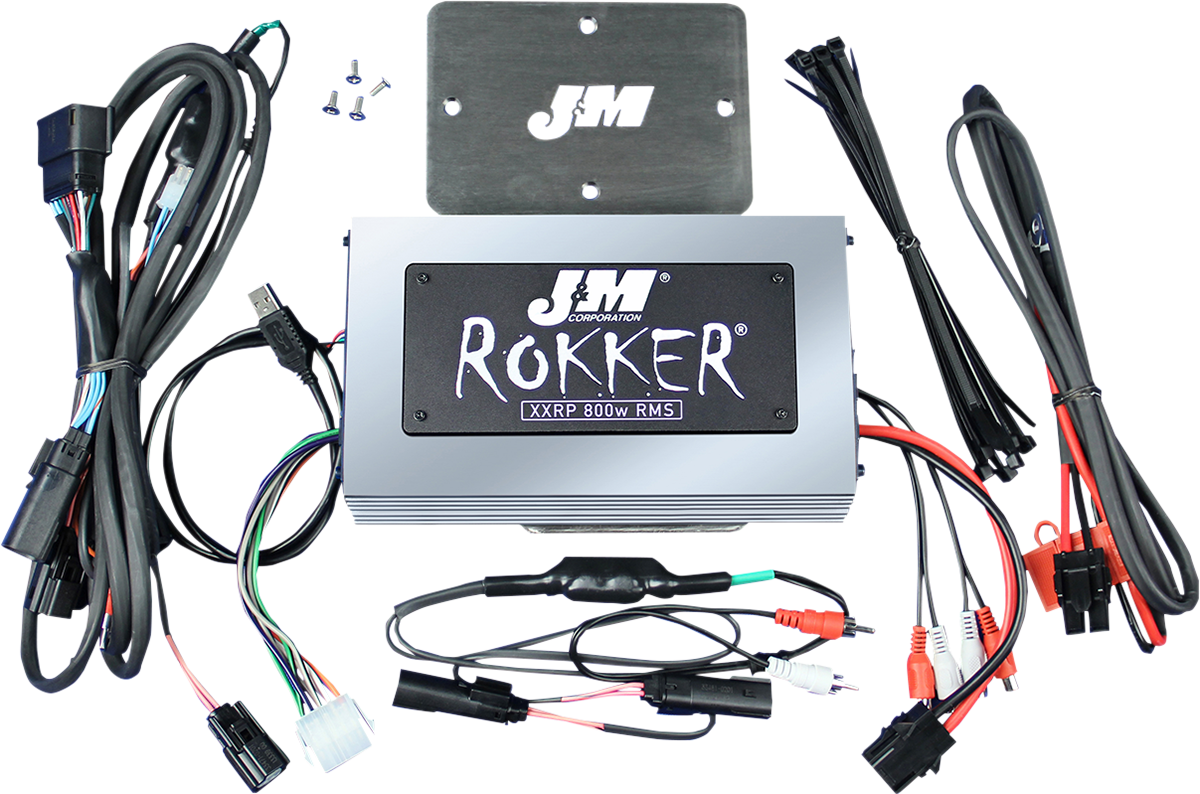 J&M 800W 4 Channel Motorcycle Amplifier Kit 16-19 Harley Touring Road Glide
