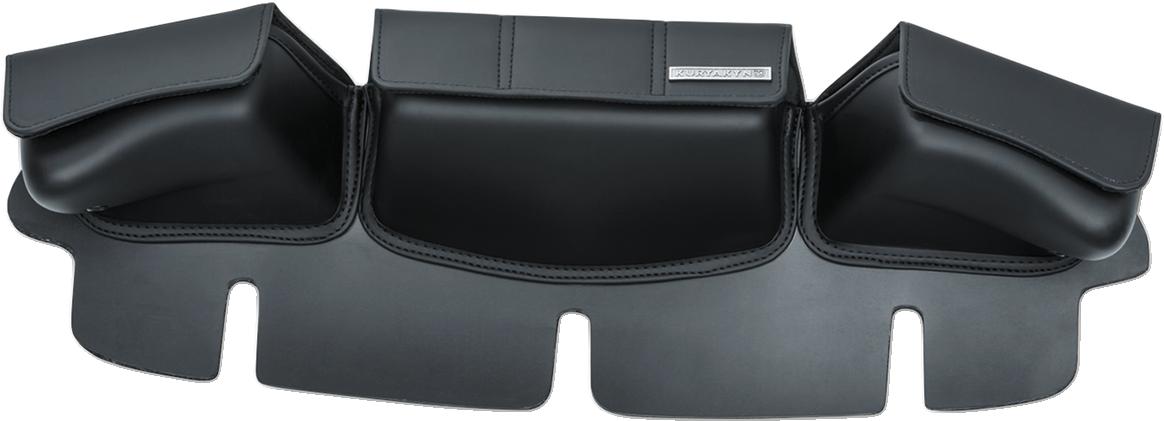 Kuryakyn 5212 Black 3 pocket Windshield Fairing Bag for 96-13 Harley Touring