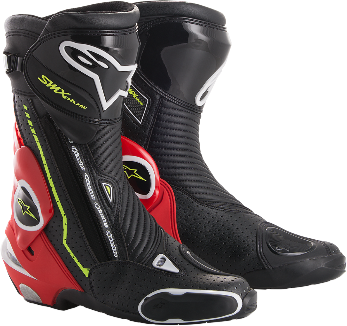 Alpinestars Mens SMX Plus Black Red White Yellow Motorcycle Riding Street Boots