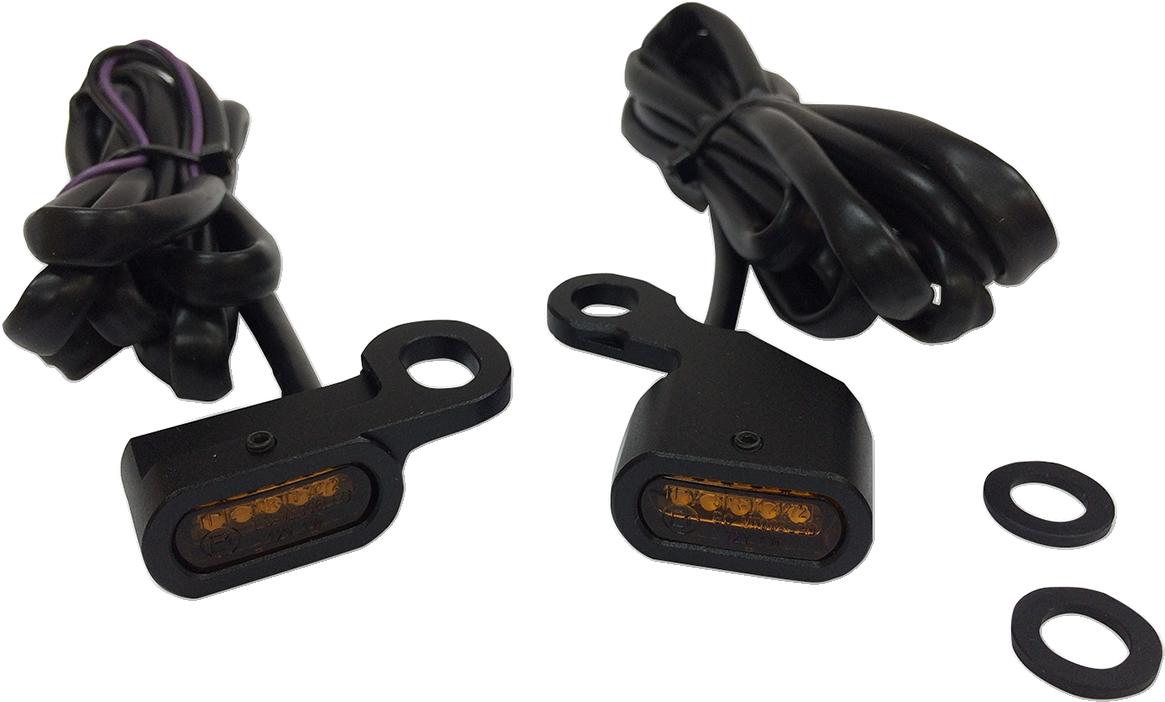 Drag Specialties Black LED Handlebar Marker Lights for 96-17 Harley Dyna Softail