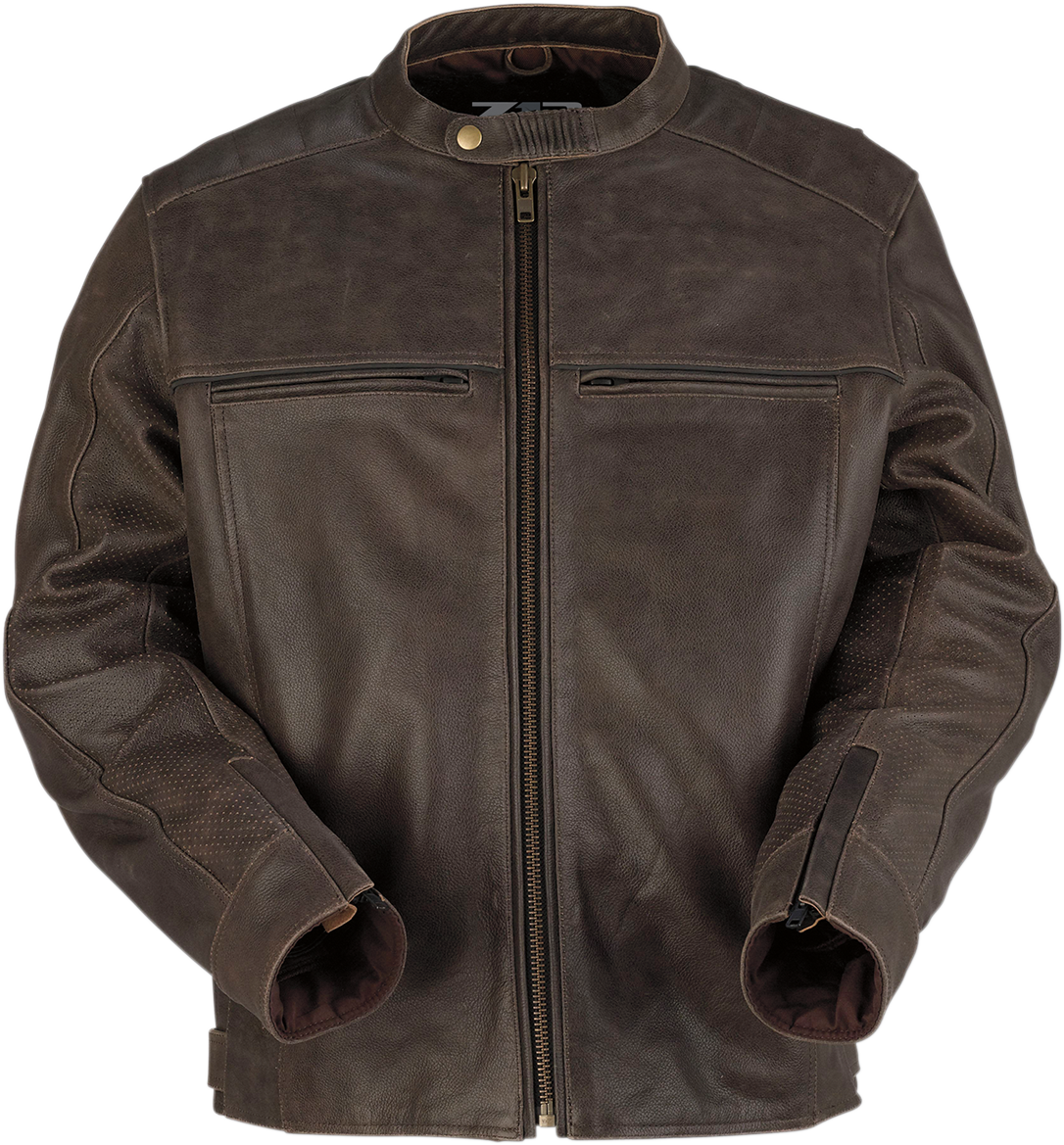 Z1R Brown Mens Indiana Leather Mesh Motorcycle Riding Street Racing Jacket