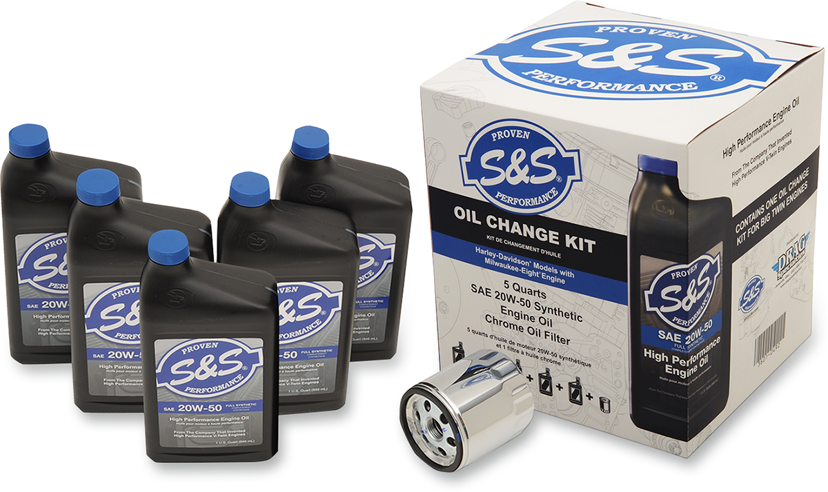 S&S 20W50 Synthetic Chrome Filter Oil Change Kit for 17-18 Harley Touring FLHX