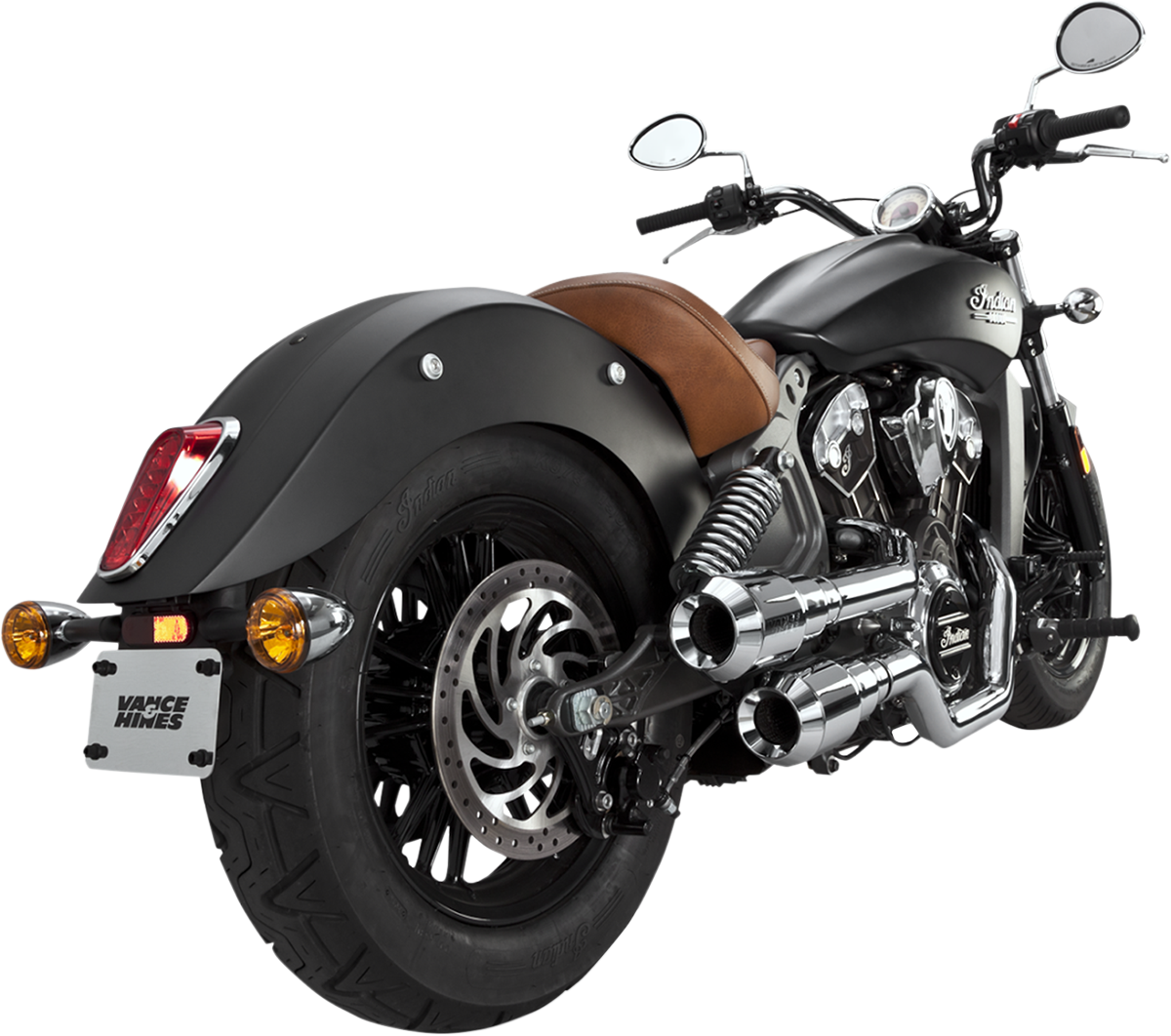 Vance & Hines Chrome Staggered Grenade 2-2 Exhaust for 15-16 Indian Scout