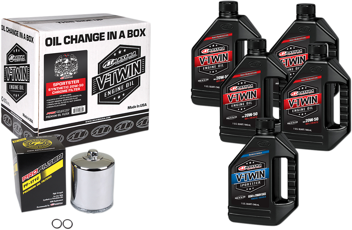 Maxima Quick Oil Change Kit & Chrome Filter for 84-99 Harley Touring Softail XL
