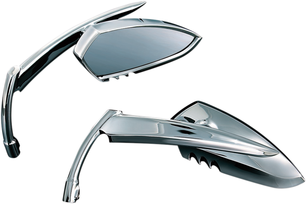 Kuryakyn 1449 Retro Screw in Scythe Trapezoid Chrome Knife Handlebar Mirror Set
