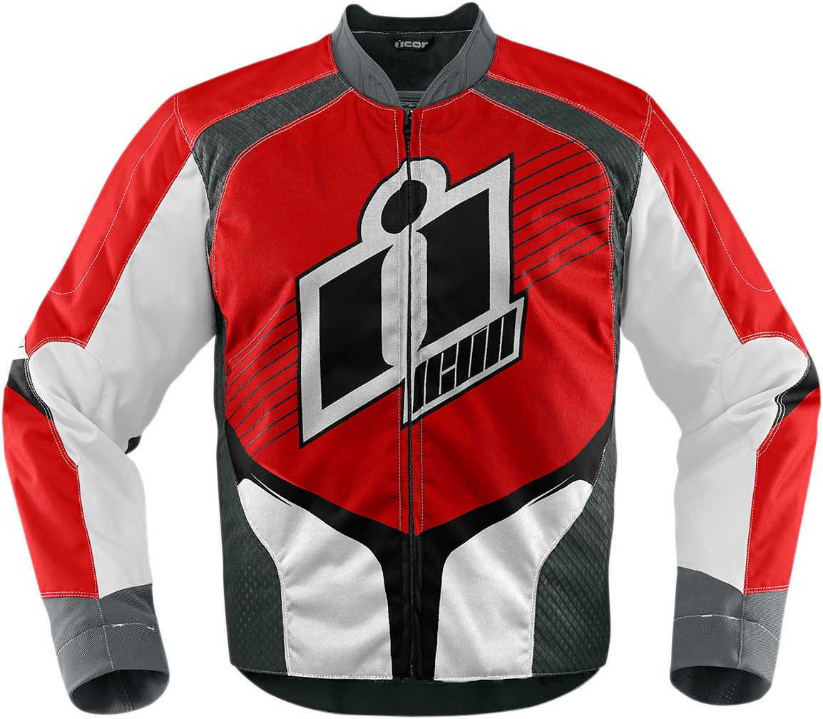 Icon 2x Red Overlord 2 Motorcycle Riding Street Racing Long Sleeve Jacket