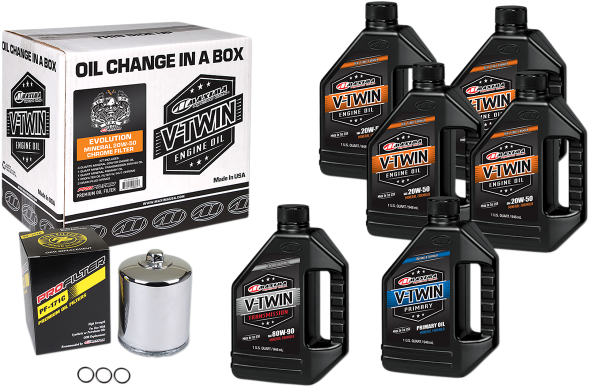 Maxima Oil Change Kit & Chrome Filter for 84-99 Harley Dyna Touring Softail XL